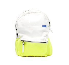 Leather backpack with contrasting neon coating