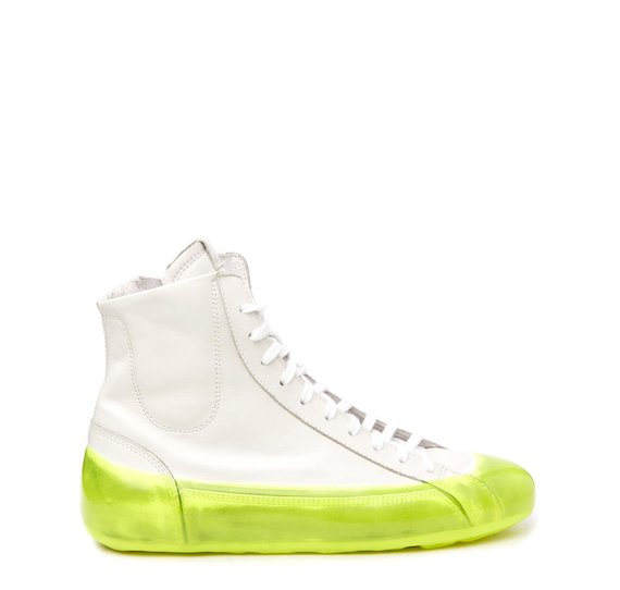 Women's white leather mid-top sneaker with neon yellow coating