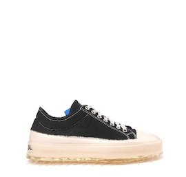 Women's black cotton sinker shoe with pink coating