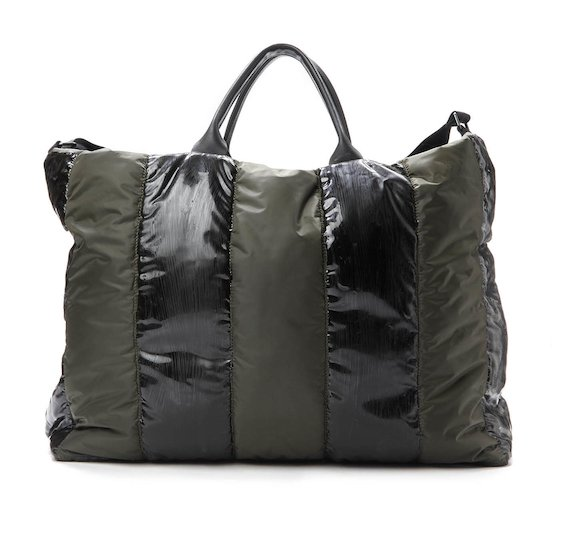 Army green nylon travel bag with coatings