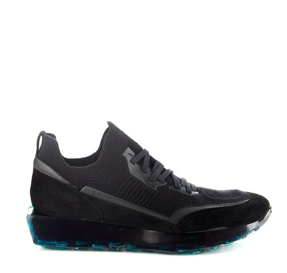 Men's SNK-100 M shoes in black stretch knit fabric with green sole