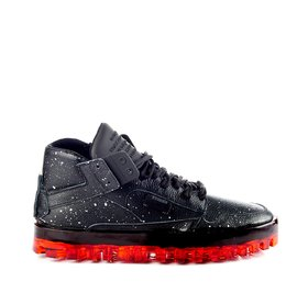 Men's BOLD shoes in drip-effect leather with black coating and red sole