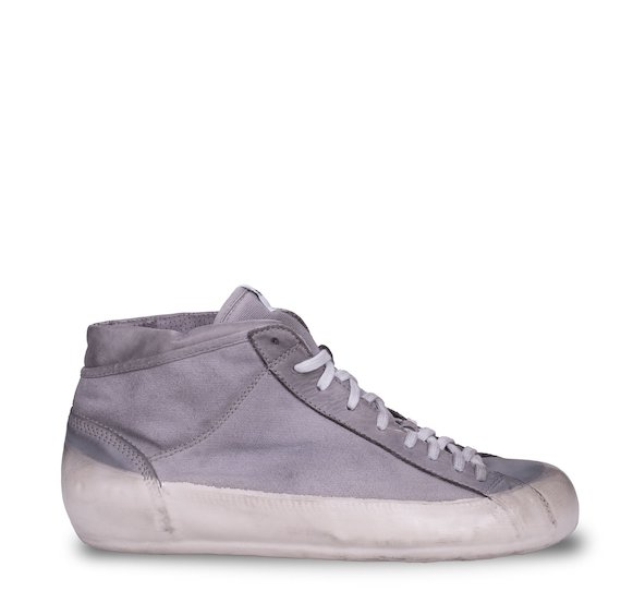 Grey mid cut trainers in fabric and leather