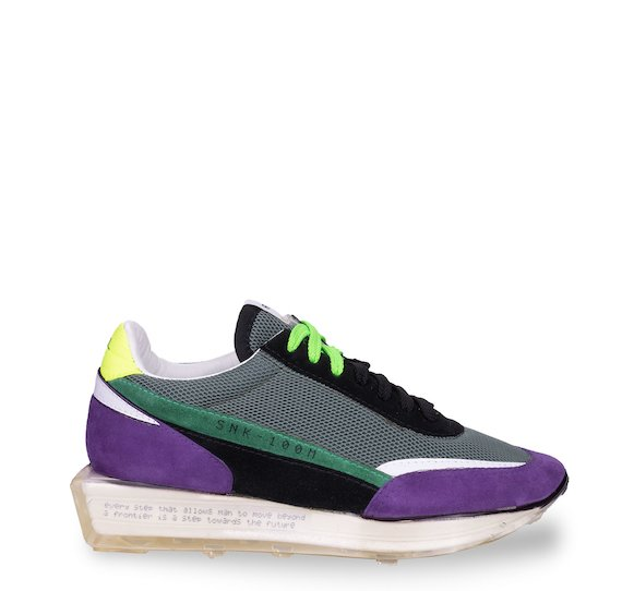 SNK-100M trainers in purple suede and green mesh
