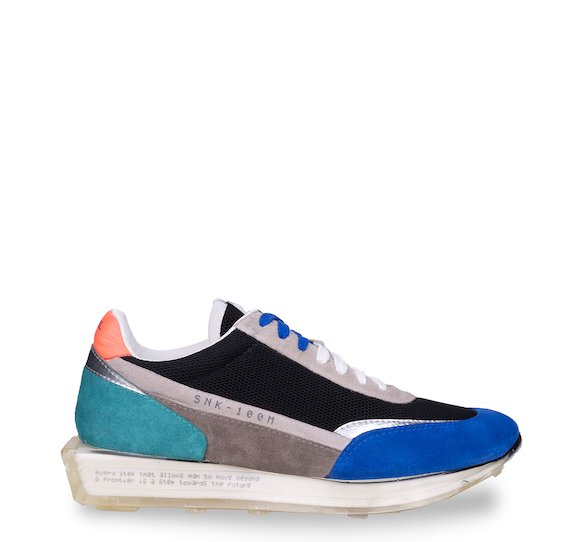 SNK-100M trainers in multicolour suede and black mesh
