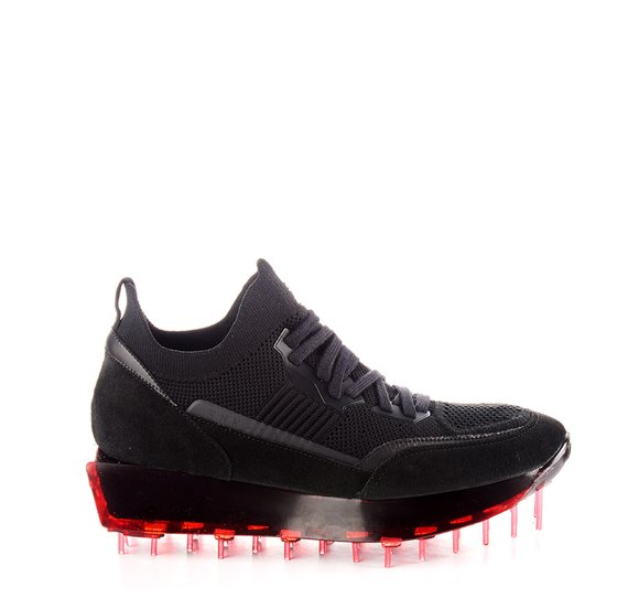 Women's SNK-100M trainers in black technical knit fabric with red sole