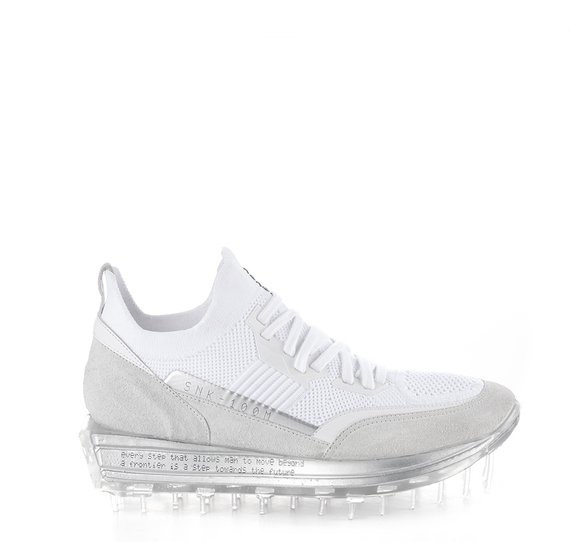 Women's SNK-100M trainers in white technical knit fabric with silver details