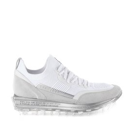Men's SNK-100M trainers in white technical knit fabric with silver details