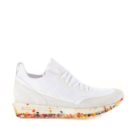 Men's SNK-100M trainers in white technical knit fabric with multicolour sole