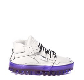 Women's BOLD white leather trainers with purple sole