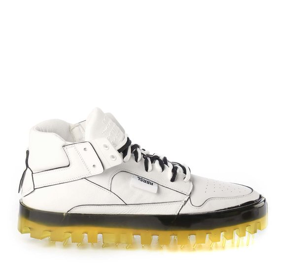 Men's BOLD white leather trainers with yellow sole and black coating
