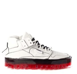 Men's BOLD white leather trainers with red sole