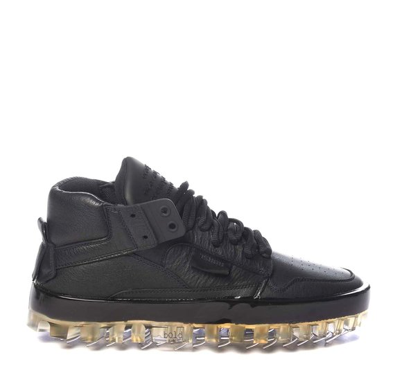 Men's BOLD black leather trainers with see-through sole