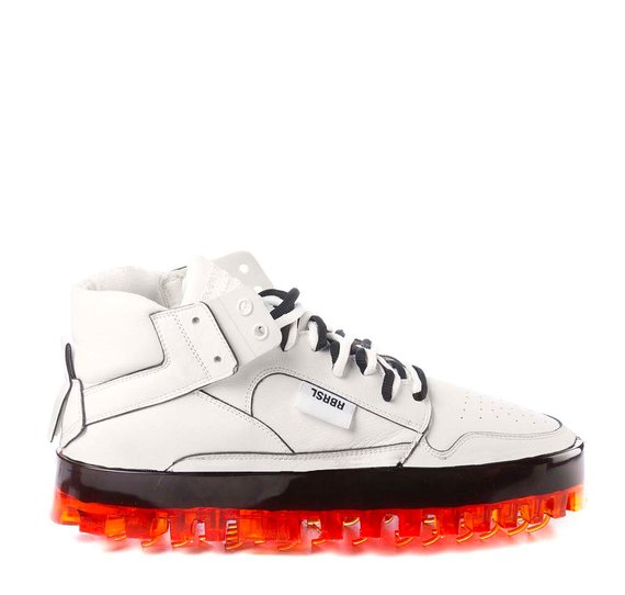 Men's BOLD white leather trainers with orange sole