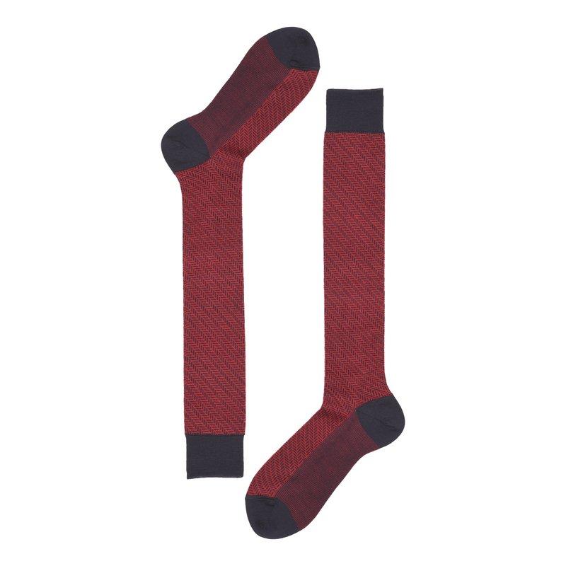 H2DRY wool long socks with chevron pattern