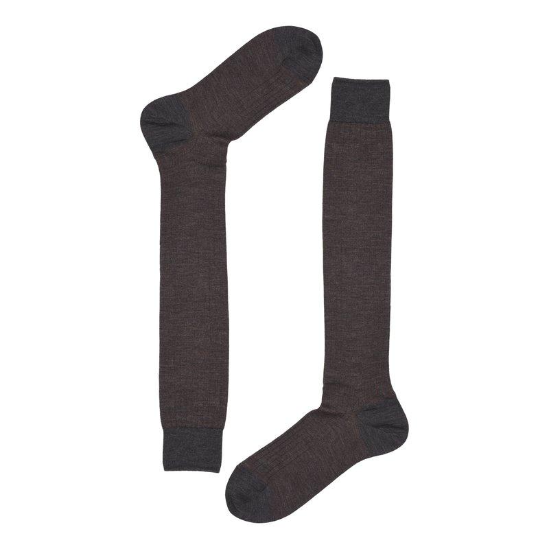 Wool ribbed long socks