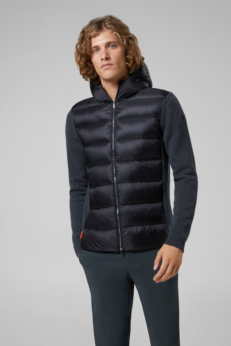KNIT HYBRID DOWN HOOD ZIP