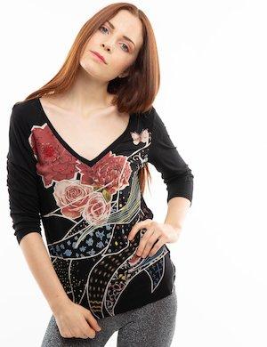 T-shirt Desigual fantasia a fiori con strass