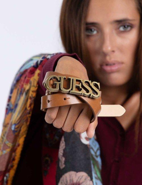 Cintura logo Guess - Cuoio