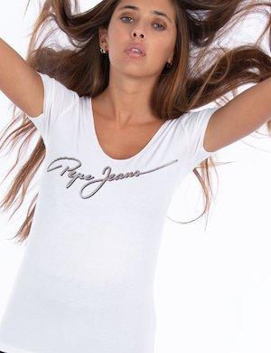 T-shirt elasticizzata con scritta