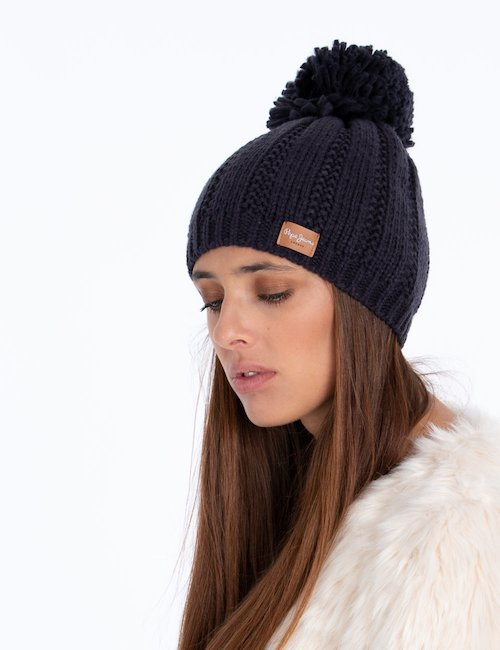 Cappello invernale con pom pom - Blu
