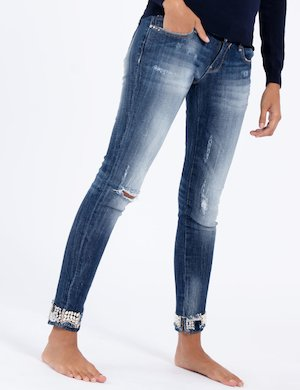 Jeans Fracomina blu con strass