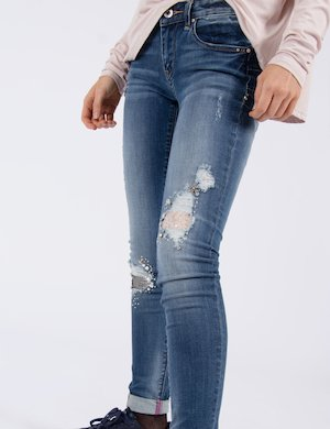 Jeans skinny damaged con strass Cod. art. FR17SPJTINA 5 sf