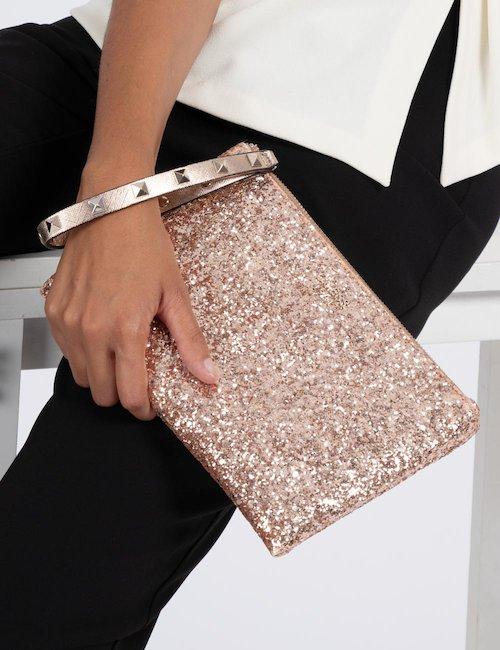 Borsa Guess con glitter - Oro Rosa
