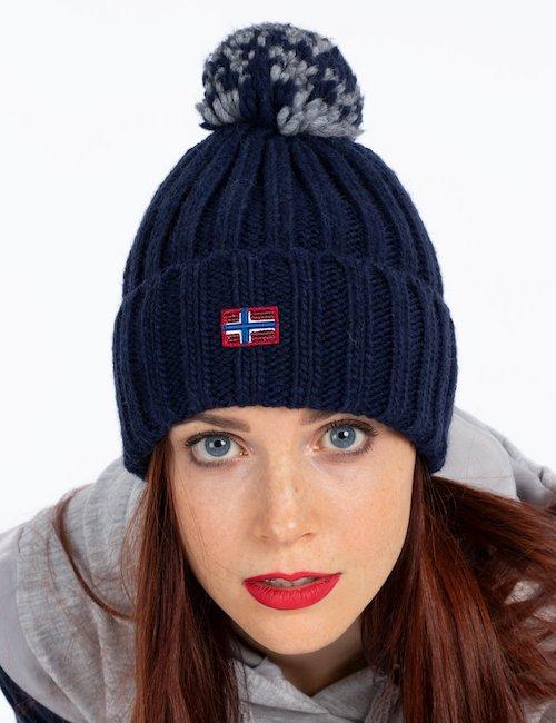Cappello Napapijri invernale con pom pom - Navy_Beige