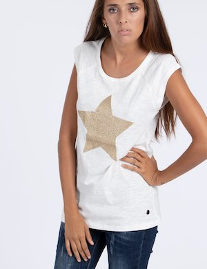T-shirt Maison Espin con stella e glitter Cod. art ME17W03TG esf