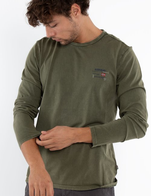 T-shirt Napapijri manica lunga - Green_Pink