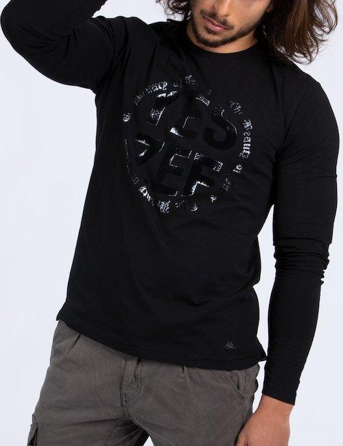 T-shirt Yes Zee manica lunga Cod. art T818 TC00 f - Nero
