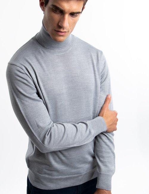 Dolcevita Nick Logan di lana - Silver_Black