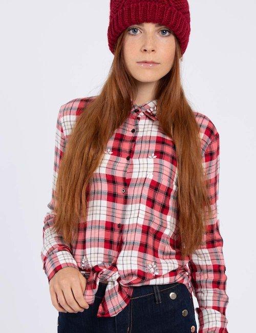 Camicia Guess check rossa - Rosso