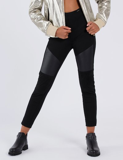 Pantalone leggings Guess con inserti in ecopelle