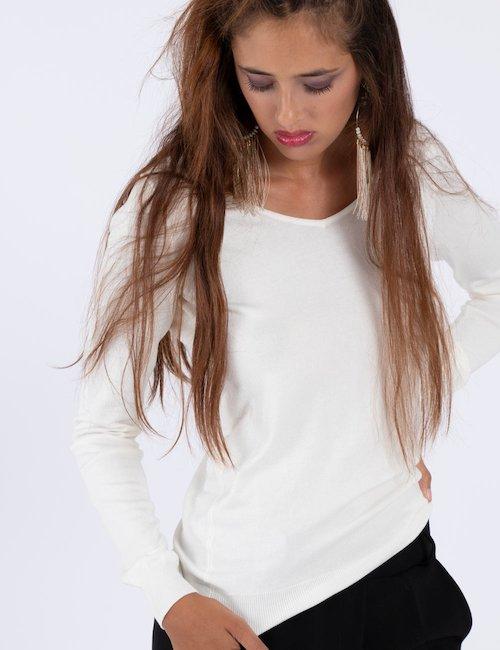 Maglione Guess bianco ampio scollo - Whitered_Blue