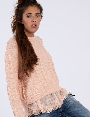 Maglione Guess rosa con tulle