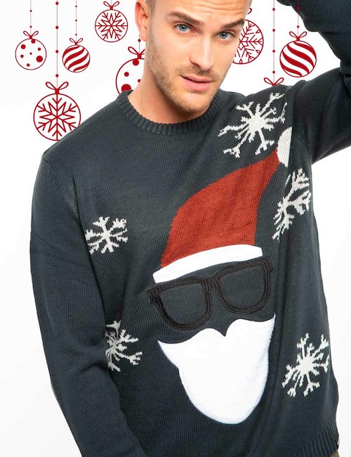Maglia Only & Sons con Babbo Natale - Blue_Pearl