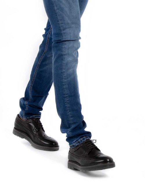 Scarpa elegante stringata in pelle Cod. art. XM104 sf - Nero