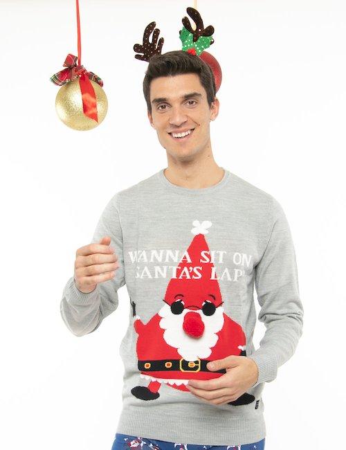 Maglione Blend Babbo Natale con pompon - Grigio