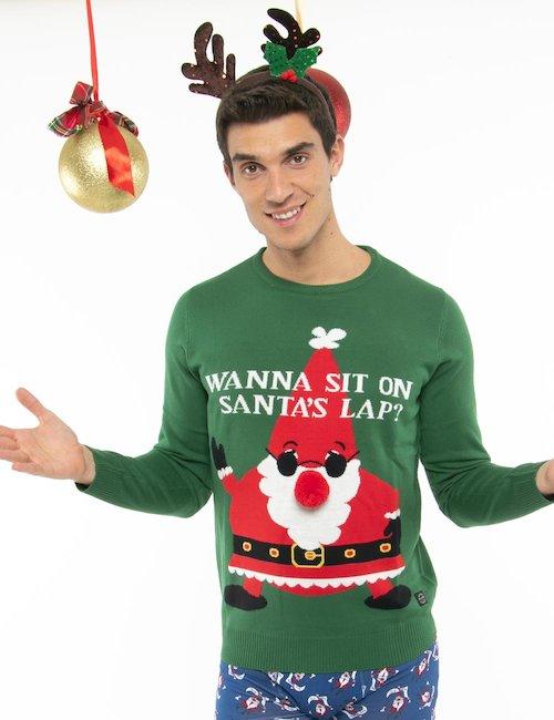 Maglione Blend Babbo Natale con pompon - Verde