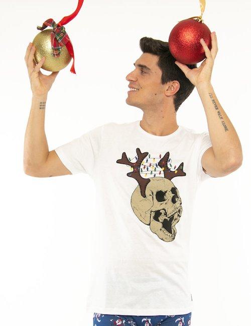 T-shirt Blend con stampa natalizia - Bianco