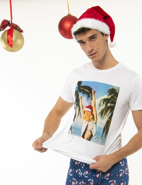 T-shirt Blend natalizia - Bianco