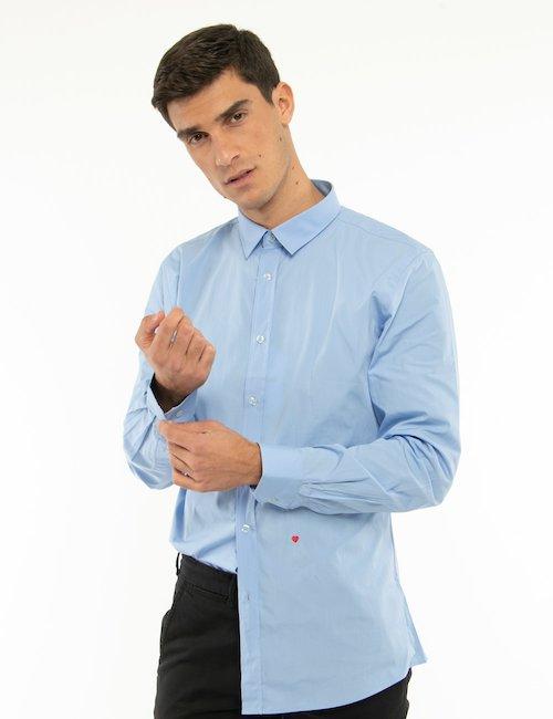 Camicia Moschino tinta unita - Azzurro