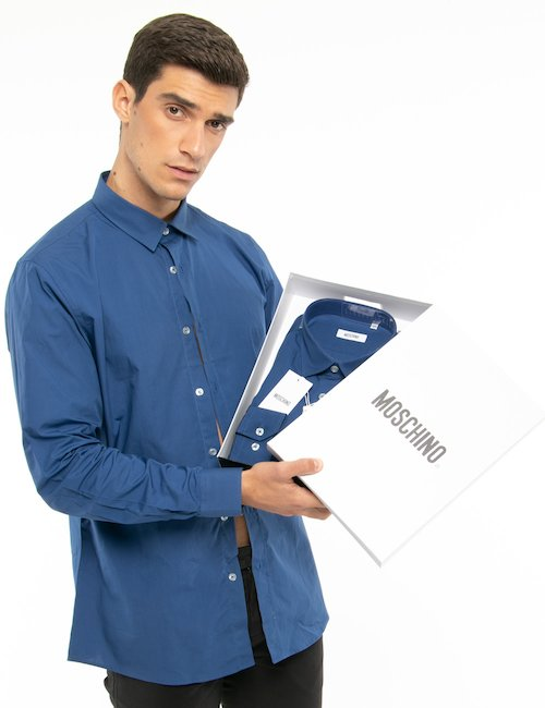 Camicia Moschino tinta unita - Blu