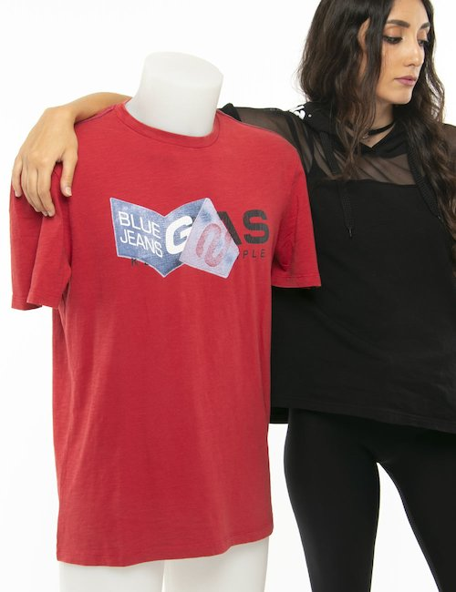 T-shirt Gas logo stampato - Rosso