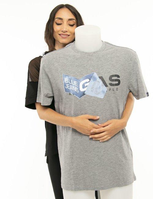 T-shirt Gas logo stampato - Grigio