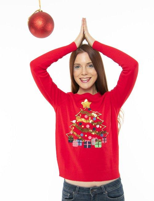 Maglione Vero Moda albero di Natale - Rosso