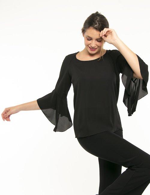 Camicia Vougue manica volant - Nero