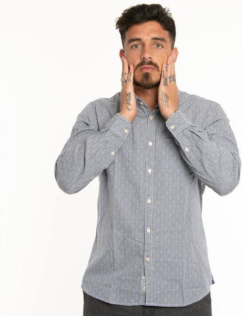Camicia Fred Mello microquadri - Blu